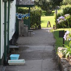 Making cyanotypes at The Gardener's Cottage. Trengwainton Garden