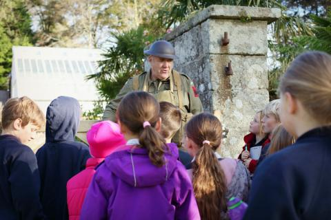 Gareth in his Home Guard uniform welcoming Newlyn School