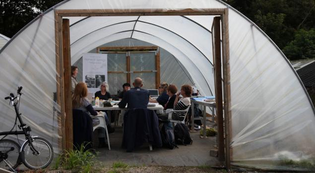 Workshop in the polytunnel, Trengwainton