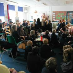 Class 5 and 6 listening to Angie Butler talking about Land Girls